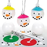 Bastelsets für Schneemann-Weihnachtskugeln für Kinder zum Selbermachen und als Weihnachtsbaumschmuck – Kreative Bastelidee für Kinder (6 Stück)