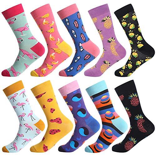 BONANGEL Herren Lustige Bunte Socken,Herren witzige Strümpfe, Fun Gemusterte Muster Socken, Verrückte Socken Modische Mehrfarbig Klassisch als Geschenk, Neuheit Sneaker Crew Socken (10 Paar-Mix 7)
