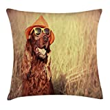 Kissenbezüge Animal Decor Throw Pillow Cushion Cover, Funny Retro Irish Setter Dog Wearing Hat and Sunglasses Humor Joy Picture, Decorative Square Accent Pillow Case, 18 X 18 Inches, Redbrown Tan
