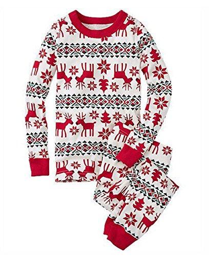 Pigiama Natale Famiglia Due Pezzi Xmas Renna Pantaloni e T-Shirt Manica Lunga Top per Mamma Papà Neonato Bambino Pajamas Set da Notte Sleepwear – Landove