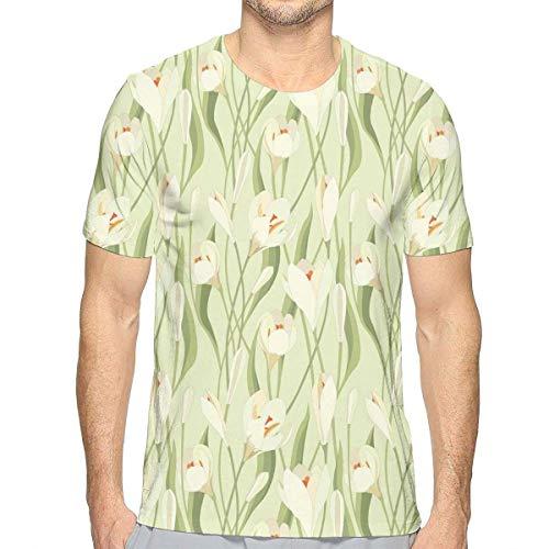 3D gedruckte T-Shirts, Frühlings-Blumen-Blumenstrauß-Krokusse mit den gesunden frischen Blumenblättern botanisch