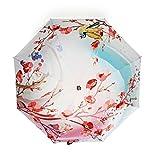 tianqi Artistic Gemälde leichtgewichtigen Faltbarer Regenschirm mit UV-Schutz und winddicht Funktionalität geeignet für Sunny und Raining Tage–Pfirsich Blumen und Vogel