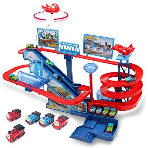 Schienenfahrzeuge Trainieren Sie Eisenbahnwaggonspielzeug Mehrschichtiges Klettern Treppenschienenbahnauto Schnelles Elektrisches Spielzeug Pädagogische Spielwaren Der Kinder Jungen- Und Mädcheneltern