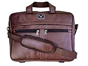 """Wildstags Tan Brown Leather 16"""" Laptop Bag Briefcase in Stylish Premium Look"""