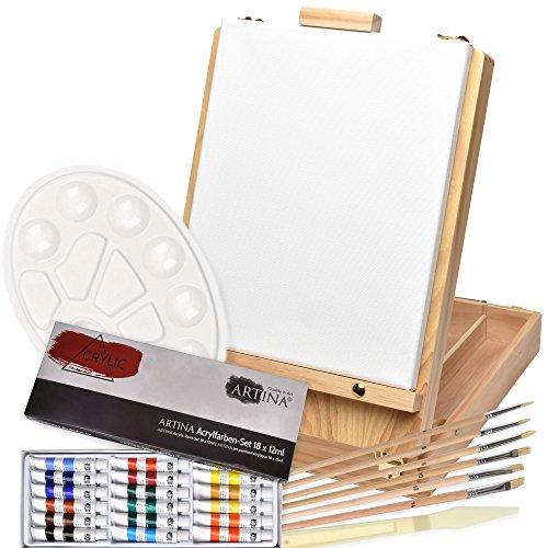 Artina Florenz set de pintura de 27 piezas caballete maletín de mesa para profis y aficionados 18 colores acrílicos, lienzos, 6 pinceles y paleta
