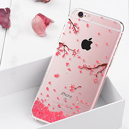 Custodia Resistenti per iPhone 7/8 plus 5.5,Ukayfe iPhone 7/8 plus Bumper Cover Puro,Neo Disegni Bella Vintage Elegante Trasparente Clear View Ultra Slim Sottile Morbida Soft TPU Silicone Gomma Gel Intarsiato Vans Glitter Brillantini Bling Diamante Colorate Ciliegia Dipinto e Strass Disegni, Particolari Fantasia Lusso Bello Rosa Ciliegia per Donna Ragazza Antiurto Protettiva Rigida Anti-scratch Cover Case Custodia Bumper
