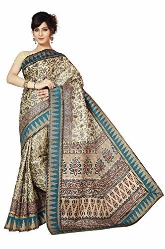 Rani Saahiba Attached Border Khadi Art Silk Saree (SKR1605_Blue)