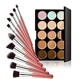 Chinatera 15 Farben Kontur Gesicht Creme Make-up Concealer Palette +10ST Pinsel (Rosa+Silber)