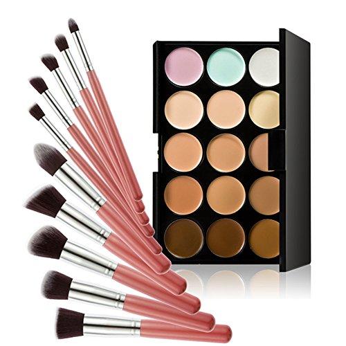Chinatera 15 Farben Kontur Gesicht Creme Make-up Concealer Palette +10ST Pinsel (Rosa+Silber) -