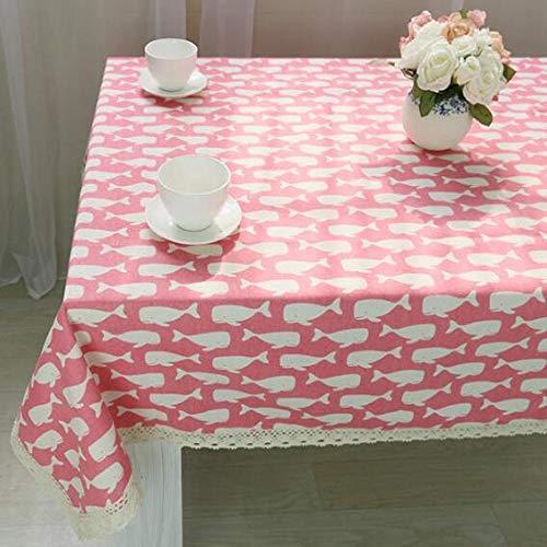 ZYT Waschbar, schmutzabweisend, pflegeleicht, hochwertig,Tischdecke aus Baumwollleinen im mediterranen Stil Tischset Haushaltstischdecke Tischdecke pink Whale 100 * 140cm
