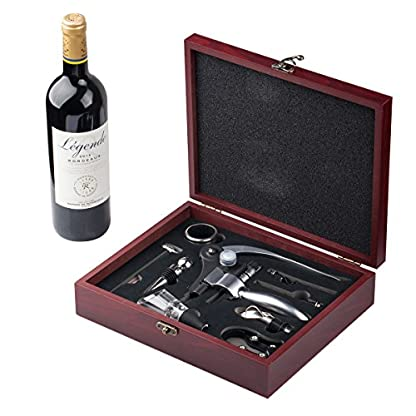 Cooko-Kaninchenstil-Korkenzieher-Manueller-Wein-ffner-Kit-mit-Belfter-und-AusgieerZink-Legierung-Griff-KorkenzieherDeluxe-Weinffner-Zubehr-mit-9-Stck-Elegantes-Design-Set-mit-Dunklem-Kirschholz-Etui