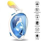 Zenoplige Tauchermaske mit 180-Grad-Sicht mit verstellbarem Gomas für den ganzen Kopf oder Gesicht, Schnorchel Schnorchel Incorporated, unterstützen Zenoplige Sport und Gopro Kamera, Farbe Blau L / XL