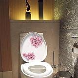 Wopeite Coperchio WC Adesivi Senza Colla Fiori Sbocciatura Fiorali Copertura per sedile fai da te Decor Rimovibile Decorazione amore per bagno