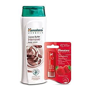 Himalaya Herbals Intensive Body Lotion, Cocoa Butter, 400ml with Shine Lip Care, Strawberry, 4.5g