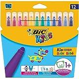 Bic Kid Couleur Baby - Pack de 12 rotuladores de colores infantil con tinta lavable, colores varios