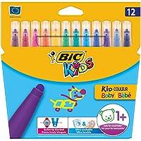 BIC Kids Fasermaler Kid Couleur Baby Stifte - auswaschbare Filzstifte für das Malen ab 1 Jahr – 1 x 12 Babystifte in bunten Farben – Im Kartonetui