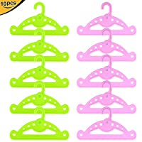 ZITA ELEMENT 10 / 12 Pcs Doll Hanger for 14 - 18 Inch American Girl Doll, Baby Doll, Our generation and Other (35 - 46CM ) Doll Clothes Acccessories - Plastic, White, Pink & Green