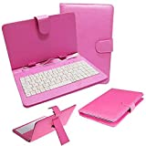 REALMAX® 10 Inch PU Leather Keyboard Stand Case Cover for Android Tablet with Micro USB (Black,Dark Pink,Dark Blue) (Dark Pink)