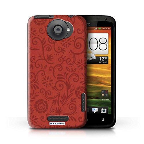 Kobalt® Imprimé Etui / Coque pour HTC One X / Fleur verte conception / Série Motif Remous floral Fleur rouge