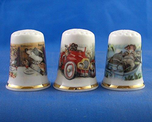Porcelana China colección dedales tres viento sauces