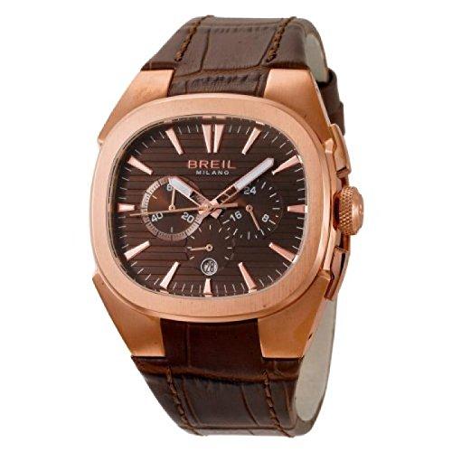Uhr Breil Herren BW0305Quarz (Batterie) Stahl vergoldet pink Quandrante braun Armband Leder