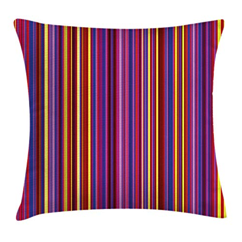 Stripe Silk Boys Band (VTXWL Abstract Throw Pillow Cushion Cover, Vertical Line Thin Stripes Vintage Bands Colorful Artistic Dynamic Radiant Graphic, Decorative Square Accent Pillow Case, 18 X 18 inches, Multicolor)