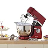Cooks Professional Premium Electric 800W Stand Mixer, 5 Litre Mixing Bowl with Splatter Guard Two Year Warranty Stunning (Red)