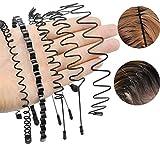 Serre-tête Homme,Liuer 5PCS Bandeaux élastiques Unisexes en Métal Noir Flexible Bandeau Cheveux Accessoires pour Femme Homme Sport