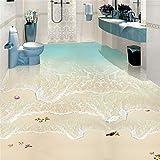 LANYU Wallpaper Strand Welle 3D Fototapete Benutzerdefinierte Boden Wandbild PVC Wasserdichte Badezimmer Boden Fliesen Wandbild Aufkleber Tapete