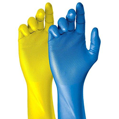 Grippaz Nitril-Handschuhe Blau 30cm lang (50 Stück) | Größe L | latexfreie Arbeitshandschuhe extrem robust & rutschfest | ideal für Medizin, Chemie, Lebensmittelkontakt | Gummihandschuhe mit patentierter Schuppenprägung | Einweghandschuhe + hygienisch + puderfrei