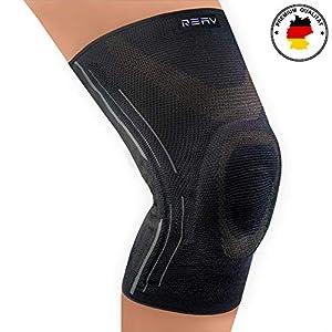 REAV Recovery Kniebandage für mehr Stabilität im Alltag und Sport – Damen und Männer – Atmungsaktive Kniestütze Kompression – Meniskus Patella Arthrose Bänderriss – Schmerzlinderung & Genesung