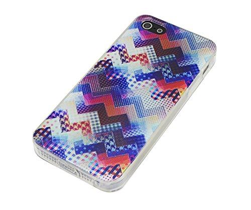 Lilware Imprint Étui Flexible En Gel TPU Sangle Portable Incluse, Radiant Carbon Black, Apple iPhone Se / 5 / 5S Zig Zag Patchwork