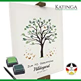 KATINGA Personalisierte Leinwand Zum Geburtstag - Motiv Baum - als Gästebuch für Fingerabdrücke (40x50cm, inkl. Stift + Stempelkissen)