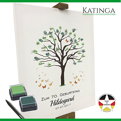 Personalisierte Leinwand zum GEBURTSTAG - Motiv Baum - als Gästebuch für Fingerabdrücke (40x50cm, inkl. Stift + Stempelkissen)