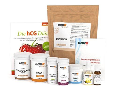 Set Aktivator (30 Tage hCG-Diät Set mit veganem Protein | hCG Aktivator | Buch | Aromatropfen (Vanille))
