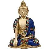Kartique God Gautam Buddha Brass Statue Sitting Position Draped In Stone Embellished Shawl