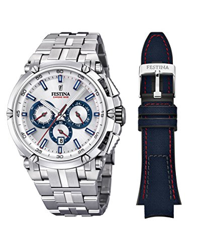 Festina Herren Chronograph Quarz Uhr mit Edelstahl Armband F20327/1