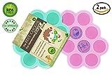 (Set di 2) Vassoio congelatore per alimenti per bambini in silicone con coperchio di coperchio - Contenitori per immagazzinaggio di stampi riutilizzabili Alimenti per neonati domestici - Verdura, purè di frutta, latte al latte e cubi di ghiaccio - BPA Free & FDA Approved - Emerald & Rose