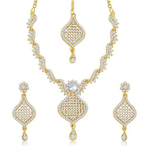 Sukkhi Gold Plated Australian Diamond Necklace & Earrings Set With Mangtikka For Women