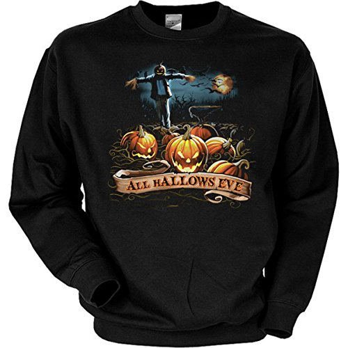 gen All hallows eve Vogelscheuche Trick or Treat Halloween Kürbisse Sweatshirt Gr XXL in schwarz ()