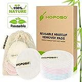 HOPOSO Coton Demaquillant Lavable,Tampons Démaquillants en Bambou Coton Lingette Demaquillante Lavable Reutilisable Bio avec sac à linge et éponge de maquillage