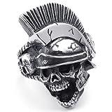 KONOV Joyería Anillo de hombre, Gótico Caballero Casco Calavera Cráneo, Acero inoxidable, Color negro plata - Talla 22 (con bolsa de regalo)