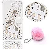 (2017 Version) Galaxy A3 Case [Full-body Protective],Vandot Bling 3D DIY Diamond Luxury Flower Magnetic Flip Stand Wallet Case Scratch-Resistant Slim Fit Case for Samsung Galaxy A3 2017 A320F-White Elephant+Furry Pompom Pendent