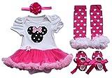 iEFiEL Neugeborenes Baby Mädchen Kleid Strampler Bodysuit Tutu Kleid +Stirnband Beinwärmer Schuhe 4tlg. Set (3-6 Monate)