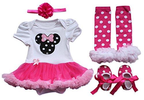 iEFiEL Neugeborenes Baby Mädchen Kleid Strampler Bodysuit Tutu Kleid +Stirnband Beinwärmer Schuhe 4tlg. Set (0-3 Monate) - Neugeborenen-kleid-schuhe