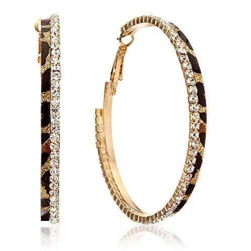 Gemini Ohrreifen (Gold), absolutes Luxus Leopard mit Glitzer und schwarz, Rundform, für gehobene Anläße, beliebt bei Girls & Damen, 2,5 cm Durchmesser (Gold-schwarzer Diamant-ohrringe)