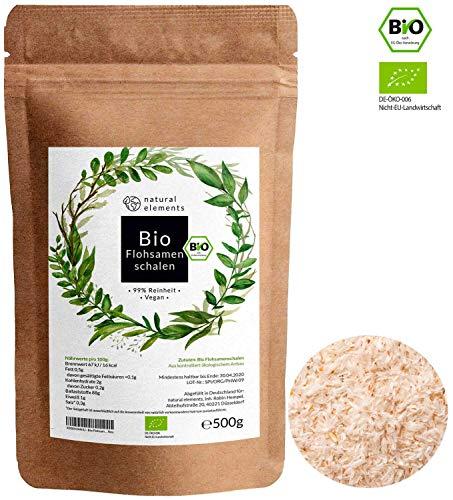 Bio Flohsamenschalen - Premium Qualität: Laborgeprüft, 99% rein, zertifiziert Bio. Vegan. Low-Carb. Ballaststoffreich. Glutenfrei. Ohne Zusätze. Nachhaltig angebaut - 500g Beutel