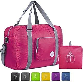 WANDF Foldable Travel Duffel Bag Super Lightweight for Luggage, Sports Gear or Gym Duffle, Water Resistant Nylon (40L Fuchsia)