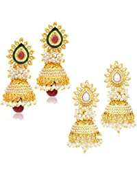 Sukkhi Gorgeous Gold Plated Wedding Jewellery Set of 2 Pair Pearl Jhumki Earring Combo for Women (315CB1600)