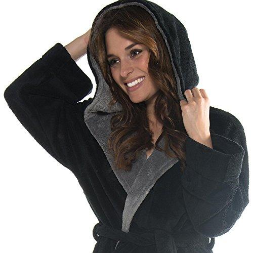 CelinaTex, Accappatoio/vestaglia per adulti, con cappuccio, in pile morbido e confortevole, mod. Texas, Nero, XXXL Nero
